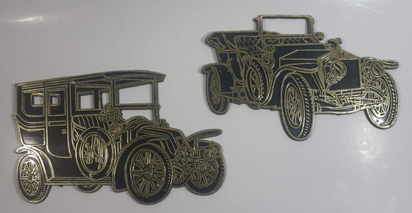 Retro 1968 Invicta Plastic Antique Classic Car Wall Decor 1909 Rolls Royce Silver Ghost & 1906 Renault