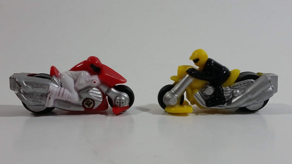 Rare 2005 Hot Wheels Micro Madnetics Exhaustio Yellow and Dragster Red Motorcycle Die Cast Toy Vehicle Fridge Magnets