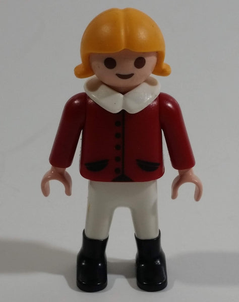 "1992 Geobra Playmobil Blonde Girl Red Top White Collar 2"" Tall Toy Figure"