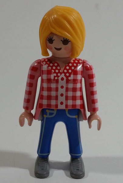 "1992 Geobra Playmobil Blonde Woman ""Campesina"" Jeans and Red/White Plaid Top 3"" Tall Toy Figure"