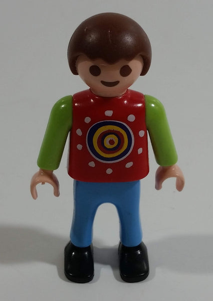 "1995 Geobra Playmobil Brown Haired Boy Blue Pants Red Top Green Sleeves 2"" Tall Toy Figure"