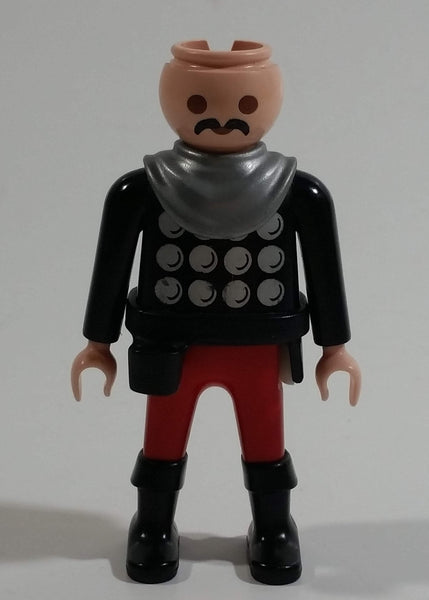 "1993 Geobra Playmobil No Hair Knight in Red Bottoms Black Top with Silver Dots and collar  3"" Tall Toy Figure Wearing a Holster"