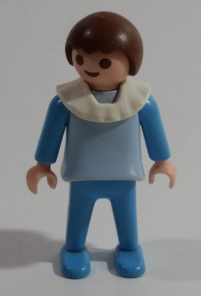 "1981 Geobra Playmobil Brown Haired Boy Blue Bottoms Light Blue Top Blue Sleeves White Frill Collar 2"" Tall Toy Figure"