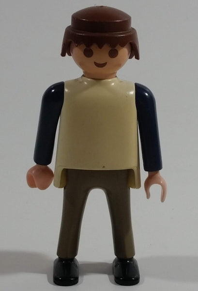 "1997 Geobra Playmobil Brown Haired Man Brown Bottoms Cream Top Dark Blue Sleeves 3"" Tall Toy Figure"