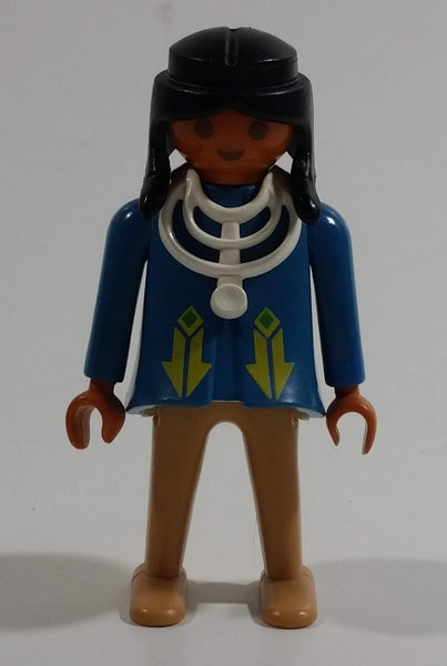 "Vintage 1974 Geobra Playmobil Black Haired Native American Indian Man Brown Bottoms Blue Top with White Necklace 3"" Tall Toy Figure"
