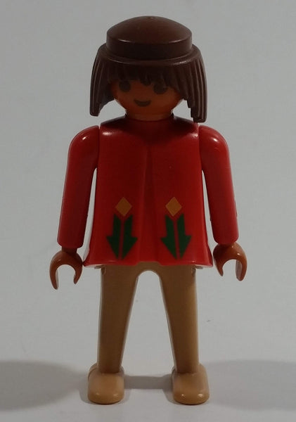 "Vintage 1974 Geobra Playmobil Brown Haired Native American Indian Girl Tan Bottoms Orange Top 3"" Tall Toy Figure"