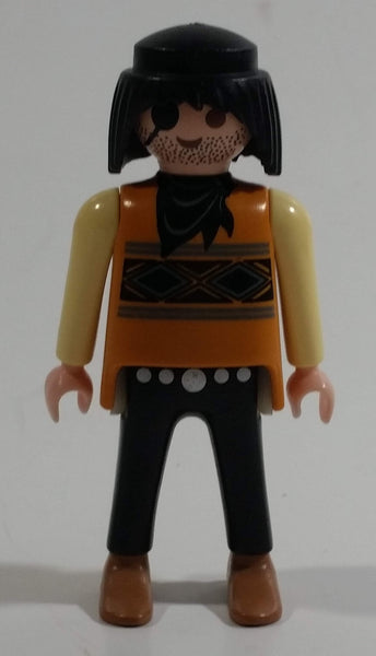 "1994 Geobra Playmobil Black Haired Pirate Man Black Bottoms Tan Orange Top White Sleeves Stubble and Eye patch 3"" Tall Toy Figure"