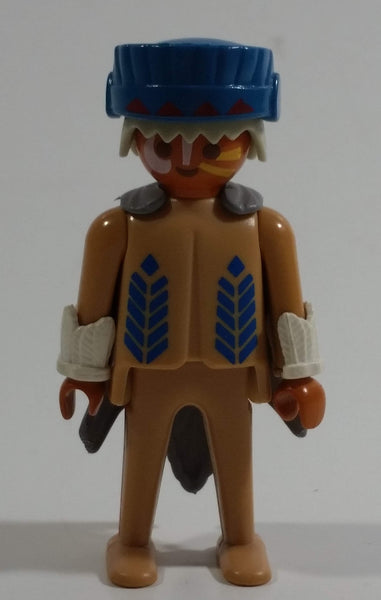 "Vintage 1974 Geobra Playmobil White Haired Native American Indian Man Brown Bottoms Brown Top with White Cuffs, Grey Hide Cape, Blue Hat 3"" Tall Toy Figure"