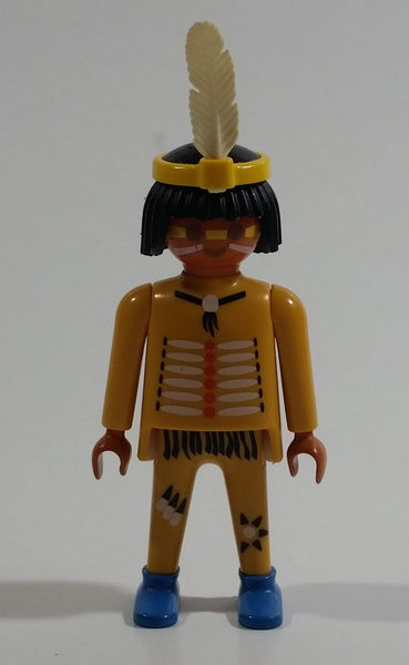 "1993 Geobra Playmobil Black Haired Native American Indian Man Yellow Bottoms Yellow Top with Yellow Band with White Feather 3"" Tall Toy Figure"