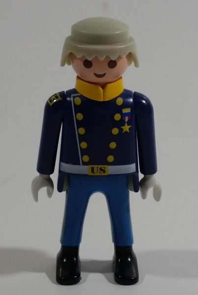 "1997 Geobra Playmobil Grey Haired US Military Servicemen Man Blue Bottoms Dark Blue Top 3"" Tall Toy Figure"