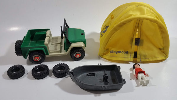 Vintage 1981 Geobra Playmobil Jeep, Tires, Tent, Row Boat, and Girl Figure and Accessories