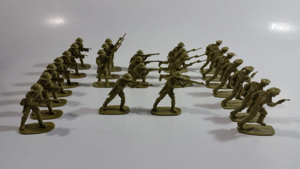 Vintage Blue-Box Toys Brown Plastic Army Figures Made in Hong Kong - Lot of 25