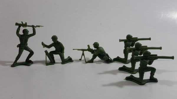 Vintage Blue-Box Toys Style Green Plastic Army Figures - Lot of 6