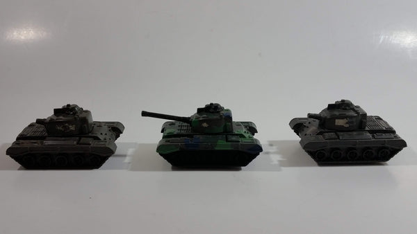 Vintage Blue-Box Toys Green Camouflage Plastic Army Tanks Made in Hong Kong - Lot of 3