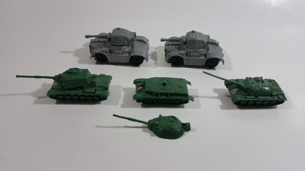Vintage Blue-Box Toys Green Plastic Army Tanks with 2 Grey Plastic Tanks Made in Hong Kong - Lot of 5