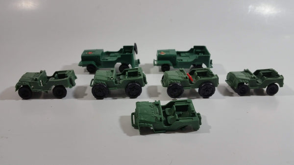 Vintage Blue-Box Toys Green Plastic Jeep Vehicles Made in Hong Kong - Lot of 7