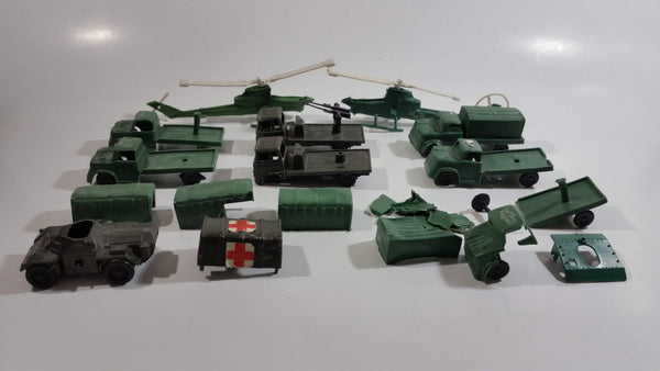 Vintage Blue-Box Toys Mixed Vehicles Helicopters, Trucks, and Truck Canopies Made in Hong Kong - Lot of 9 with Parts