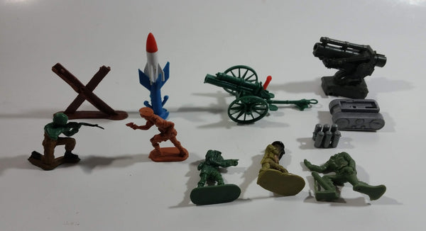 Vintage Blue-Box Toys and Other Brands Mixed Army Military Weaponry and Soldier Figures with Spring Action Artillery Made in Hong Kong