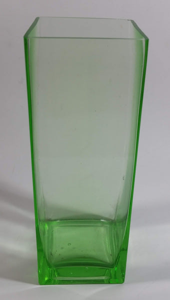 "Decorative Uranium Glass Style 7"" Tall Square Flower Vase"