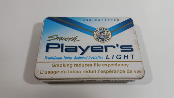 Smooth Player's Light Tobacco Traditional Taste White Tin Hinged Metal Smoke Cigarette Pack