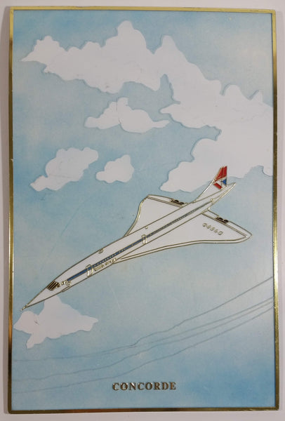 Vintage British Airways Concorde Passenger Jet Airplane Plastic Wall Plaque Decor