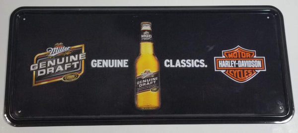 "Miller Genuine Draft Beer Genuine Classics Harley Davidson Motor Cycles Black 8"" x 18"" Embossed Tin Metal Sign"
