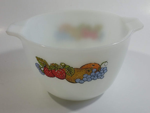 Vintage Anchor Hocking No. 606 Colorful Berries Design Fire King White Milk Glass Berry Serving / Mixing Bowl Oven Proof 8 Made in USA