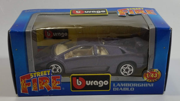 Burago Street Fire No. 4141 Lamborghini Diablo Purple 1/43 Scale Die Cast Toy Car Vehicle New in Box