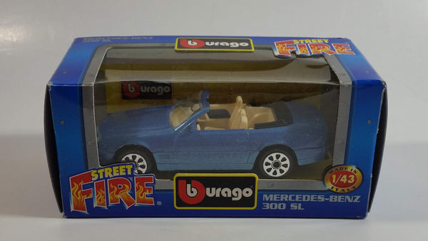 Burago Street Fire No. 4109 Mercedes-Benz 300 SL Blue 1/43 Scale Die Cast Toy Car Vehicle New in Box