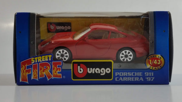 Burago Street Fire No. 4178 Porsche 911 Carrera '97 Red  1/43 Scale Die Cast Toy Car Vehicle New in Box
