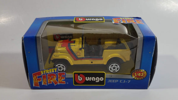 Burago Street Fire No. 4122 Jeep CJ-7 Yellow Shell Pirelli 1/43 Scale Die Cast Toy Car Vehicle New in Box
