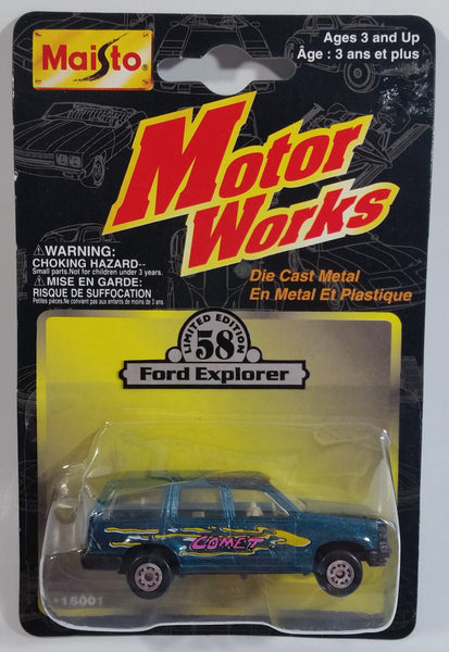 1997 Maisto Motor Works Limited Edition No. 58 Ford Explorer Green Blue Die Cast Toy Car Vehicle New in Package