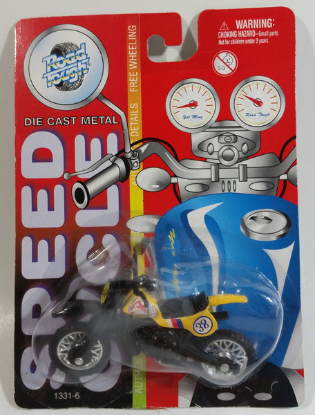 Vintage Yatming Road Tough Speed Cycle No. 1331-6 Dirt Bike Motorcycle Street Bike Yellow and Black #38 Die Cast Toy Car Vehicle New in Package