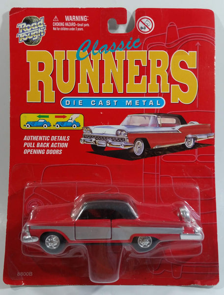 Rare Vintage Yatming Road Tough Classic Runners No. 8801 1959 Ford Fairlane 500 Red and Silver with Black Top Pull-Back Motorized Friction 1/43 Scale Die Cast Toy Car Vehicle New in Package