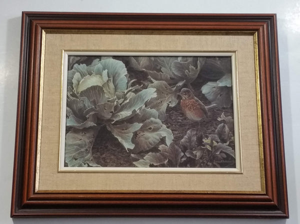 "1987 Robert Bateman ""SUMMER GARDEN YOUNG ROBIN"" Wildlife Bird Nature Print Wood Framed 12"" x 15"""