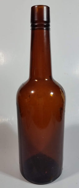 "Vintage 11"" Tall Brown Amber Glass Bottle"