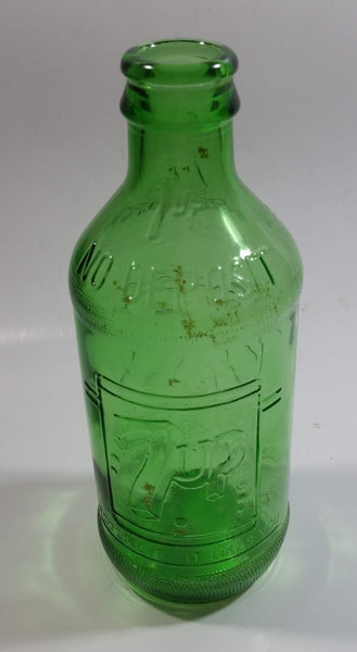 Vintage 1960s 7up You Like It - It Likes You 10 Fl oz Stubby Embossed Green Glass Beverage Bottle