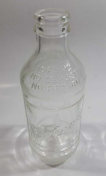 Vintage 1960s Schweppes Famous Since 1794 10 Fl oz Stubby Embossed Clear Glass Beverage Bottle