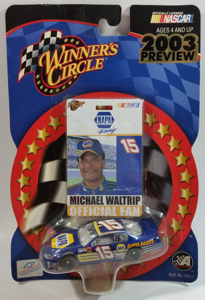 2002 Action Racing NASCAR Winner's Circle #15 Michael Waltrip NAPA Auto Parts Chevrolet Monte Carlo Blue Die Cast Toy Race Car Vehicle with Fan Pass - New in Package Sealed
