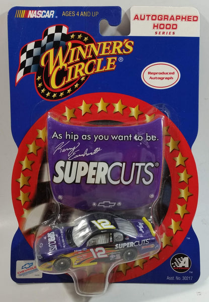2002 Action Racing NASCAR Winner's Circle Autographed Hood Series #12 Kerry Earnhardt SuperCuts Chevrolet Monte Carlo Purple Die Cast Toy Race Car Vehicle with Hood - New in Package Sealed