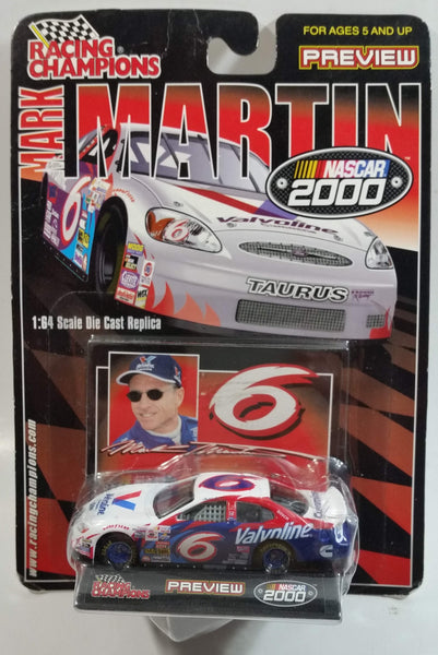 2000 Racing Champions NASCAR Preview #6 Mark Martin Valvoline Ford Taurus White Die Cast Toy Race Car Vehicle with Trading Card - New in Package Sealed