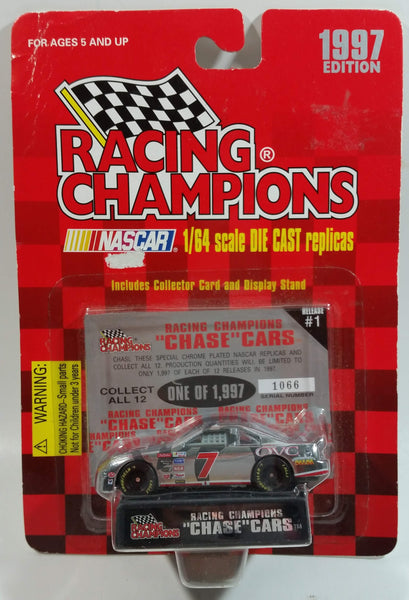 "1997 Racing Champions ""Chase"" Cars NASCAR #7 Geoffrey Bodine QVC Ford Chrome Die Cast Toy Race Car Vehicle with Collector Card and Display Stand - New in Package Sealed"