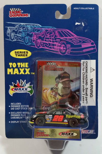 1995 Racing Champions Series Three To The Maxx NASCAR #28 Dale Jarrett Havoline Texaco Ford Taurus Black Die Cast Toy Race Car Vehicle with Maxx Trading Card and Display Stand - New in Package Sealed