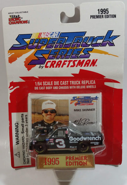 1995 Racing Champions Premier Edition Super Truck Series by Craftsman NASCAR #3 Mike Skinner GM Goodwrench Chevy Pickup Truck Black Die Cast Toy Race Car Vehicle with Trading Card and Display Stand - New in Package Sealed