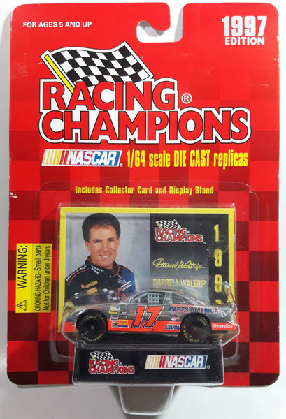 1997 Edition Racing Champions NASCAR #17 Darrell Waltrip Parts America Chevrolet Monte Carlo Chrome and Orange Die Cast Toy Race Car Vehicle with Collector Card and Display Stand - New in Package Sealed