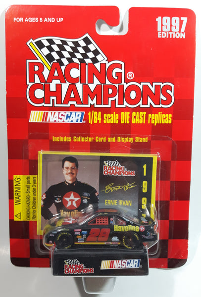 1997 Edition Racing Champions NASCAR #28 Ernie Irvan Havoline Texaco Ford Taurus Black Die Cast Toy Race Car Vehicle with Collector Card and Display Stand - New in Package Sealed