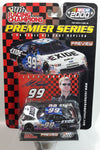 2000 Racing Champions NASCAR Premier Series #99 Jeff Burton Exide SKP Ford Taurus Blue and White Die Cast Toy Race Car Vehicle with Opening Hood and Collector Card and Display Stand - New in Package Sealed