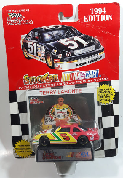 1994 Edition Racing Champions NASCAR Stock Car #5 Terry Labonte Kellogg's Chevrolet Monte Carlo White Red Green Yellow Die Cast Toy Race Car Vehicle with Collector Card and Display Stand - New in Package Sealed