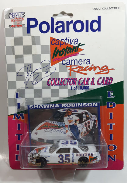 1993 Action Racing Collectibles NASCAR Limited Edition #35 Shawna Robinson Polaroid Captiva Instant Camera White Die Cast Toy Race Car Vehicle with Collector Card - New in Package Sealed