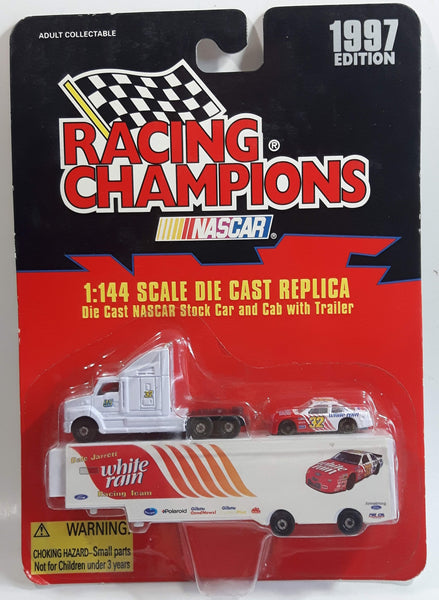 1997 Edition Racing Champions NASCAR #32 Dale Jarrett White Rain Racing Team Ford Taurus White and Red 1/144 Scale Tiny Micro Die Cast Race Car Vehicle with Semi Truck Cab and Trailer Set - New in Package Sealed